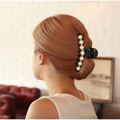 Girls Long Hair Accessories Imitation Pearl Hair Barrettes Elegant Ponytail Hair Clip Bangs Clamp for Women