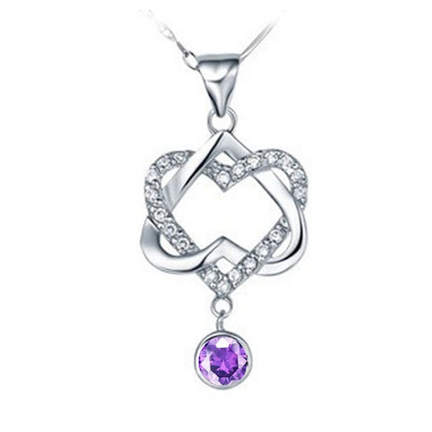 Heart White Purple Crystal Choker Necklace For Women Valentine's Day Pendants Best Friends Gifts Colares Femininos Ulove