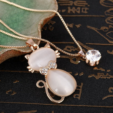 Natural Stone Cat Eye - Chain Pendant Necklaces