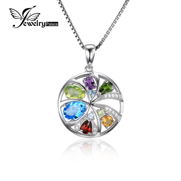 JewelryPalace luxury 2.3ct Multicolor Natural Topaz Amethyst Citrine Garnet Peridot Chrome Diopsid 925 Sterling Silver 45cmChain