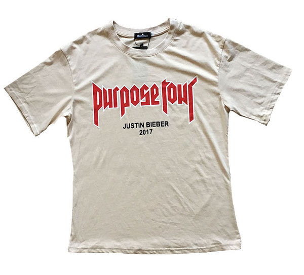 Justin Bieber Purpose Tour T-shirt Men Fear Of God Letter Print Casual Hip Hop Tshirt 2017 Summer Mens Tee Clothes Homme US Size