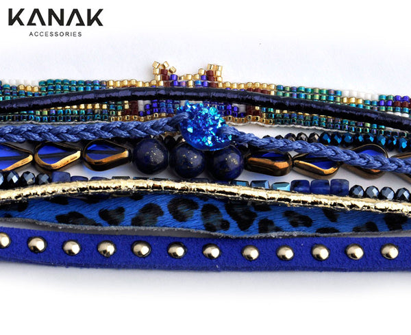 Ribbon Leopard Summer Women Bracelet Multilayer Leather Wrap Bracelet Brazilian Beaded Bracelet Rivet Ethnic Magnetic