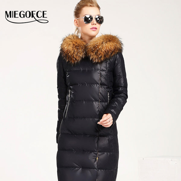 New Winter Collection Women Down Coat Jacket Warm Woman Down Parka with a Real Raccoon Fur Winter Coat Women - FREE SHIPPING