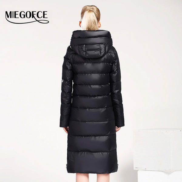 New Winter Collection 2016 Bio Fluff Coat Medium Length Fashionable Down coat Women's Hooded Warm Jacket - Free Shipping