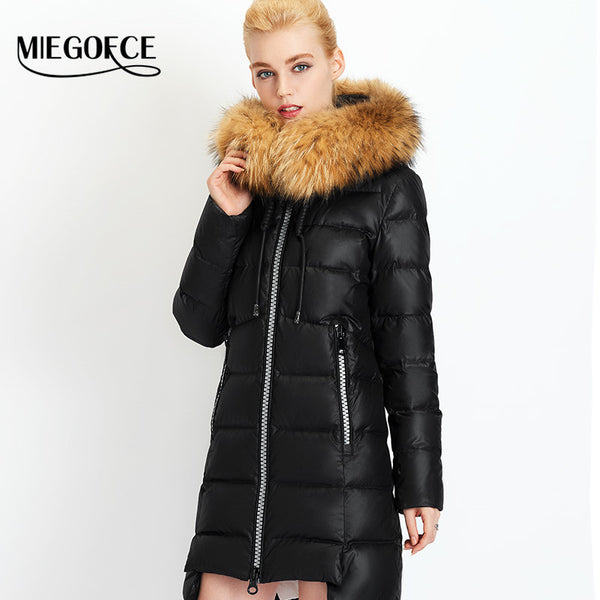 New Winter Collection 2017 Winter Women's Warm down Jacket European Tailoring a Collar of Natural Raccoon Fur Coat - FREE SHIPPING