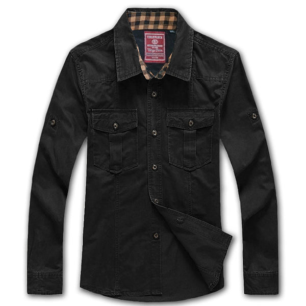 Men's Shirt Plus Size XXXL 4XL 5XL 6XL Long Sleeve Air force Shirt Casual Clothes Man Fashion Military Styled Black Dress