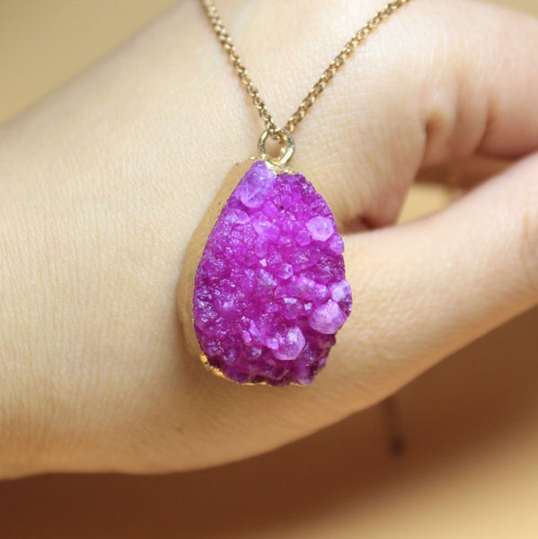 Natural Drusy Crystal 18K Gold Plated Irregular Geode Connector Stone Pendant  DIY Necklaces Bracelet For Jewelry Making Women