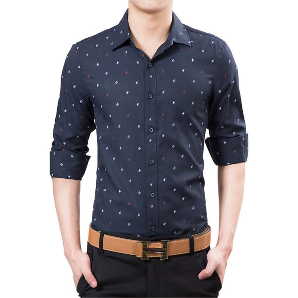 New 2017 Brand Men Shirt Slim Fit Casual Shirts Men Fashion Polka Dot Print Luxury Dress Shirts