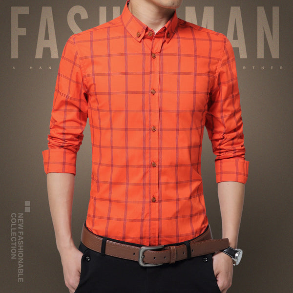 New Plaid Shirt Men Fashion Casual  Long Sleeve Turn-Down Slim Fit Shirt Men High Quality Cotton Mens Dress Shirts Men Clothes