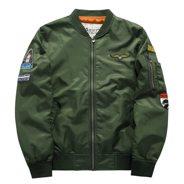 Men Bomber Jacket 2017 Air Force One Hip Hop Patch Designs Slim Fit Pilot Bomber Jacket Coat Men Jackets