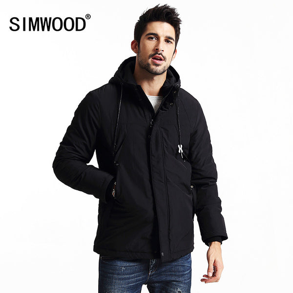 New winter coats men thick casual black  parkas fashion brand clothing slim fit zipper  windbreaker