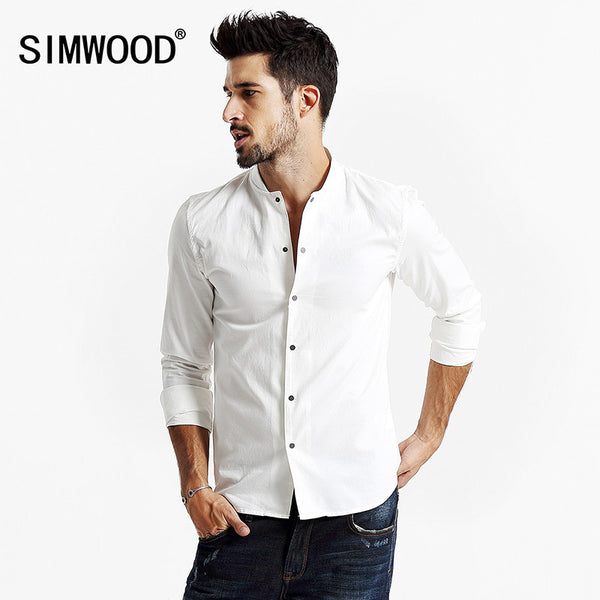 Autumn Male Noble Top Shirt Solid Full Sleeve Single-breasted Fashion Men Shirt