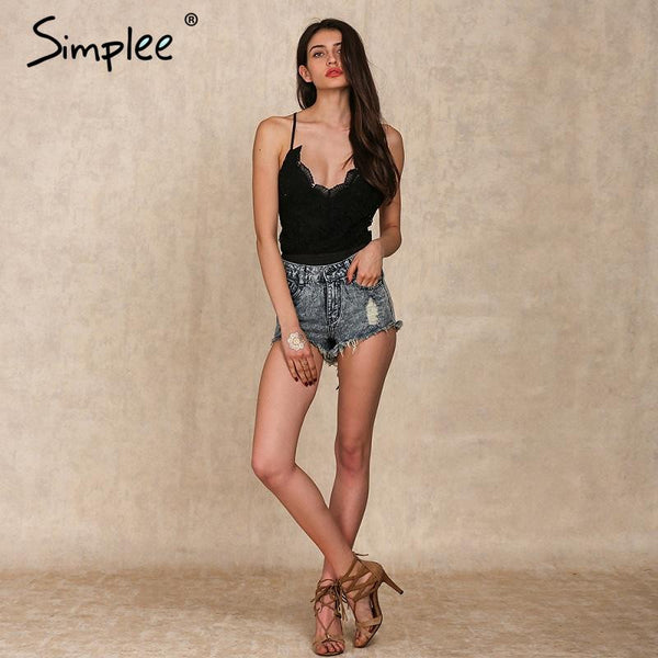 Simplee Apparel Black lace up backless sexy bodysuit 2017 Spring elastic deep v neck women jumpsuit rompers Casual cami tops