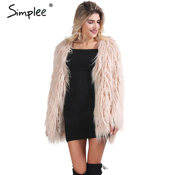 Elegant faux fur coat women Fluffy warm long sleeve female outerwear Black chic autumn winter coat jacket hairy overcoat