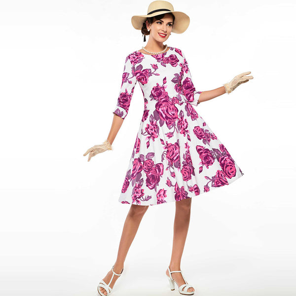 Floral Rose Print Party Dress