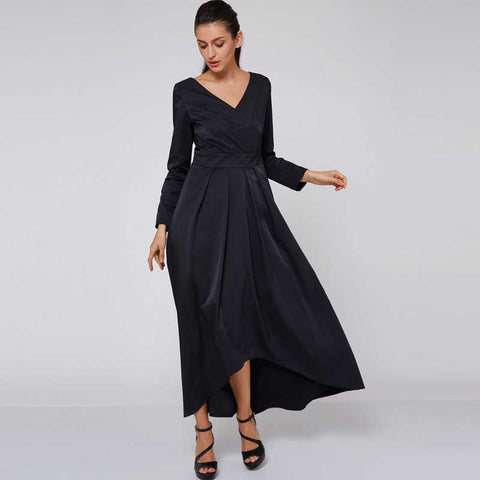 Women maxi dress black dress autumn winter long party festa dresses long fashion elegant v neck women black maxi dress