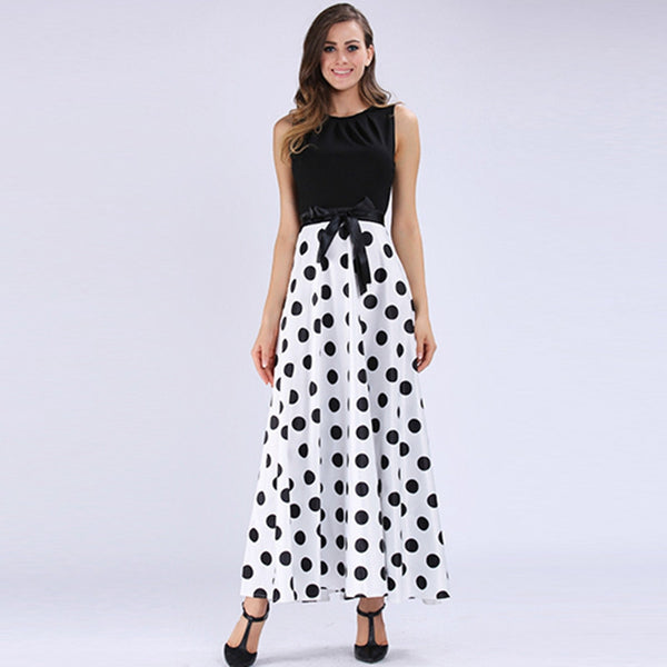 women maxi dress vintage patchwork black white dresses elegant polka dots women summer dress with belt women maxi dress