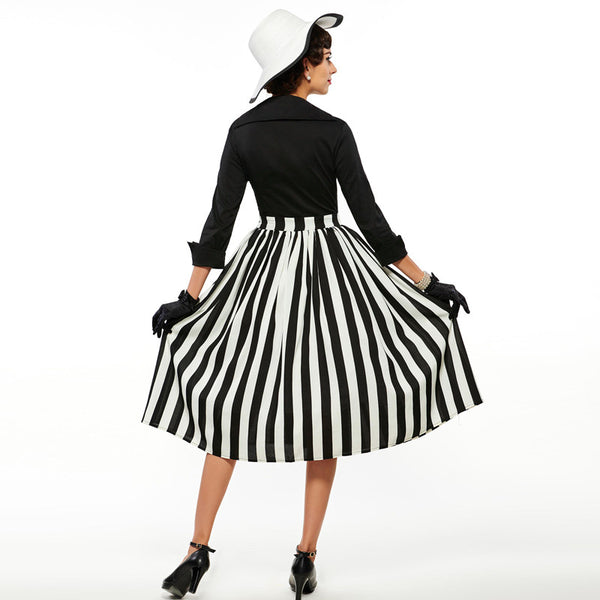 Black Striped Party Dress