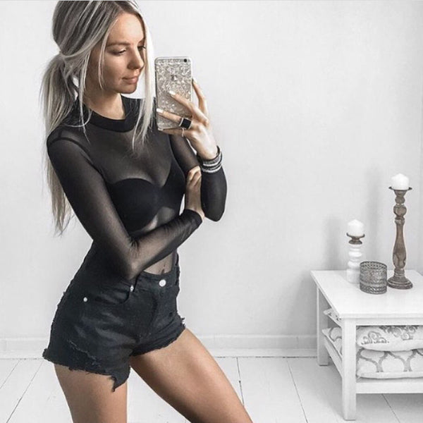 Sexy High Neck Long Sleeve See Through Autumn Summer Women Mesh Bodysuits Playsuits Rompers Jumpsuits Overalls Bodice New