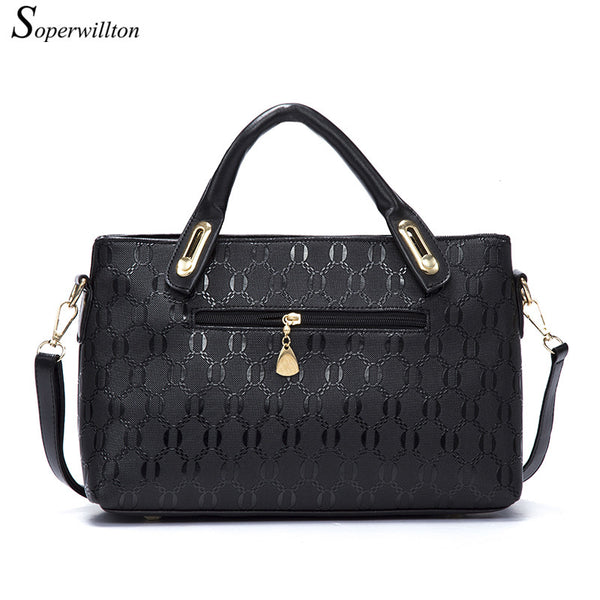 Soperwillton Famous Brand Women Bag Top-Handle Bags 2017 Fashion Women Messenger Bags Handbag Set PU Leather Composite Bag