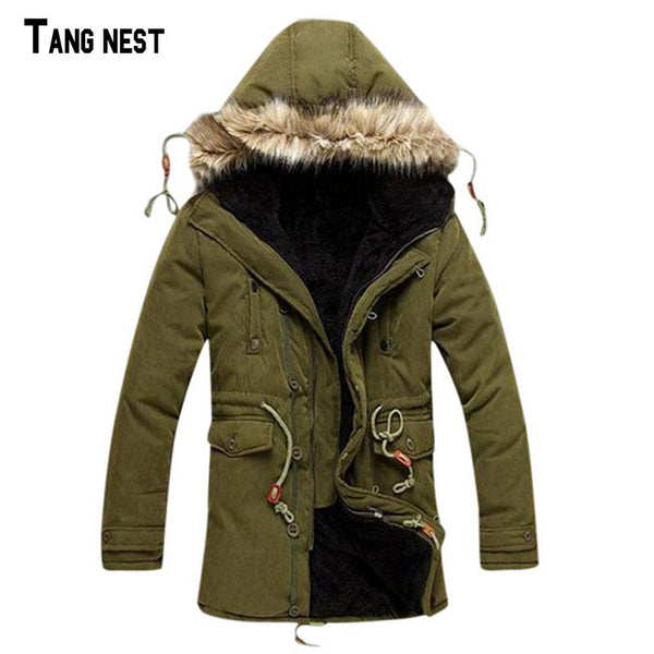 TANGNEST Men Coat 2016 Hot Sale Men's Solid Causal Long Warm Coat Male Fashion Padded Hooded Winter Wear Thick Coat