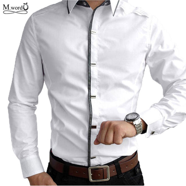 Top Quality 2017 new mens casual long Sleeve Shirts Men Rock Shirt Men Slim Fit  Male 100% Cotton  shirt