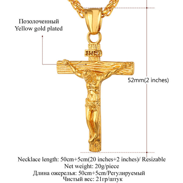 Cross INRI Crucifix Jesus Piece Pendant Necklace Stainless Steel Gold Plated Men Chain Christian Jewelry Christmas Gifts