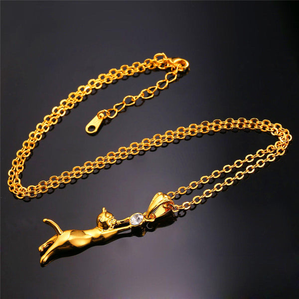 Cute Cat Necklace Gold Plated