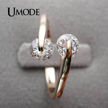 Rose Gold Plated Fashion Design Twin Zircon CZ simulated Diamond Engagement Rings for Woman