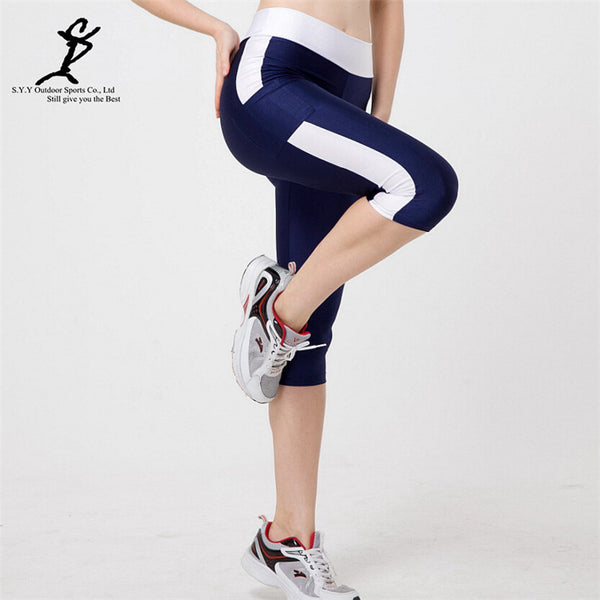 Women Pocket Running Compression Cropped Leggings Patchwork Sport Leggings Fitness Trousers Running Tights High Waist Yoga Pants