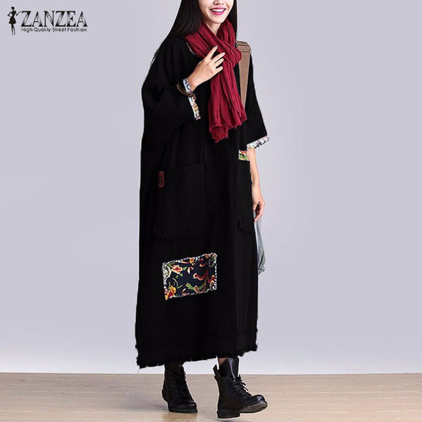 Women Vintage Elegant Dress Autumn  Neck 3/4 Sleeve Pockets Casual Loose Solid Maxi Long Dress Oversized Vestidos