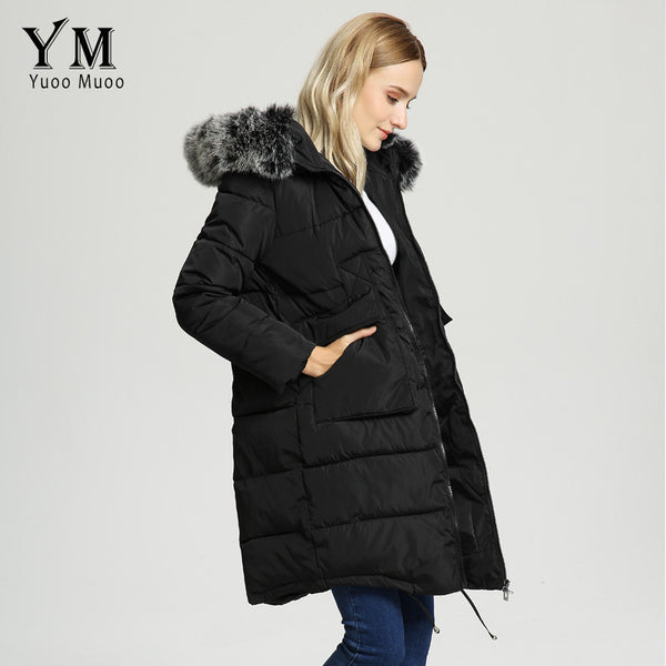 Warm Fur Collar Hooded Women Winter Coat Thick Plus Size Cotton Padded Down Coat Elegant Long Women Jacket Parka