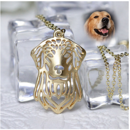 Golden Retriever Necklace Charm Dog Necklaces Animal Shape Gold Silver Plated Metal Pendant And necklace