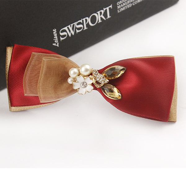 High Quality 2017 new fashion korean style hairpins silk satin ribbon bows hairpins hair clips for women hair accessories