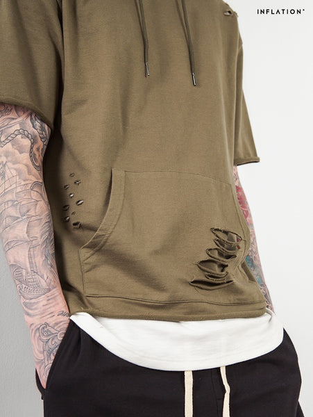 2017 Men Ripped Hole Loose Casual Tops Fashion Summer T-shirt Streetwear Hooded Tshirt
