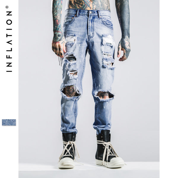 2017 Hip Hop Autumn Ripped Jeans For Men Light Blue Color Jeans