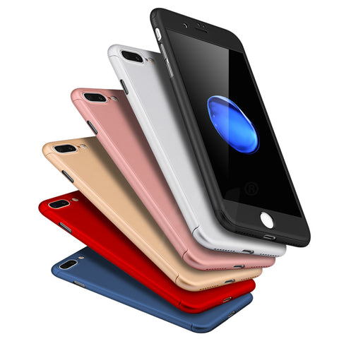 Hard Shockproof Cover Full Coverage Degree Protective Tempered Glass For iPhones