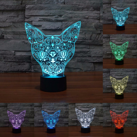 3D Cat Face LED Lamp - Touch Control