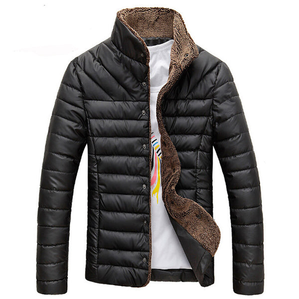2017 Men Winter Jacket Warm Casual All-match Single Breasted Solid Men Coat Popular Coat For Male Black Color Size M-3XL
