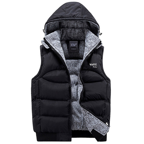 Vest Men Sleeveless Jacket homme colete masculino Winter Casual Coats Male Hooded Cotton-Padded Vest mens Thickening Waistcoat