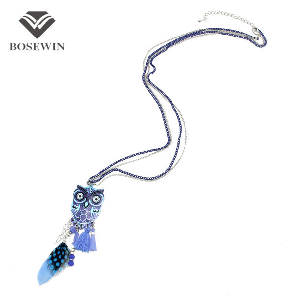 New Fashion Long Chain Multicolor Owl Pendant Necklaces With Feather Crystal Bead Tassel Women New Accessories Charm Jewelry
