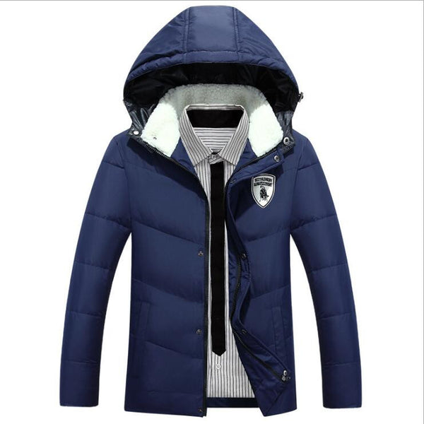 2017 New Brand Men's White Duck Down Jacket Casual Solid Turn-dwon Collar Parka Winter Jacket Men Fashion Overcoat Outerwear