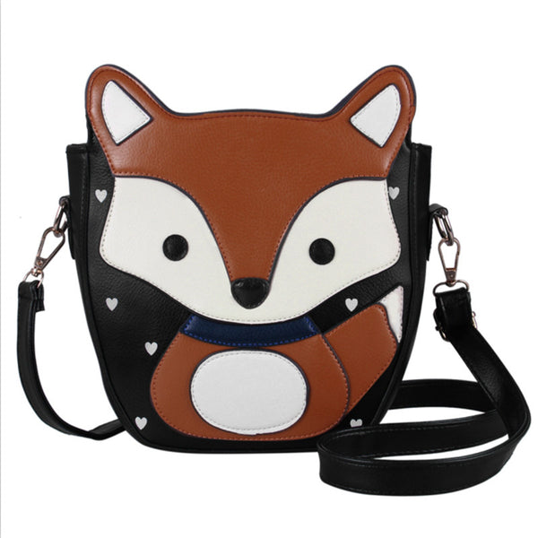 New Sweet  Cartoon Fox Messenger Bags Top Quality Vintage Lovely PU Women Leather Handbags Campus Style Women Bag