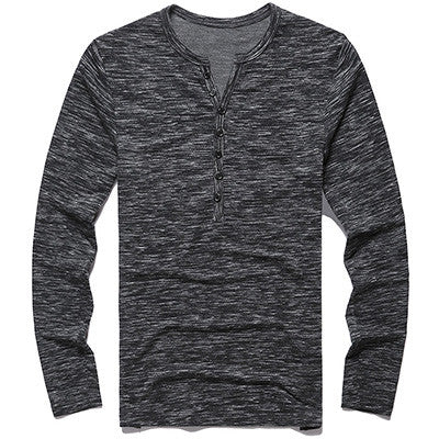 2017 New Tee Tops Long Sleeve Stylish Slim Fit - New Men Henley Shirt