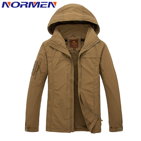 NORMEN Brand Clothing Men's Casual Jacket Hooded Waterproof Breathable Tenchal Jacket For Men Thin Jacket Men Fashion Streetwear