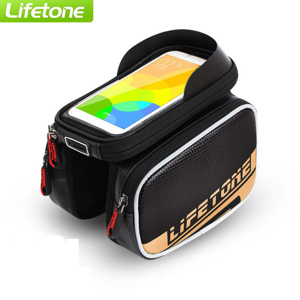"LIFETONE Touchscreen Bicycle Bag Waterproof Bike Bag MTB Road Frame Front Head Cycling Bag For 5.7""-6"" Phone Bike Accessories"