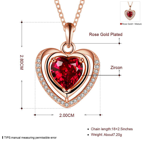 Mother's day necklace birth stone heart shaped love necklace 18k yellow gold plated synthetic gem ruby red cz pendants women