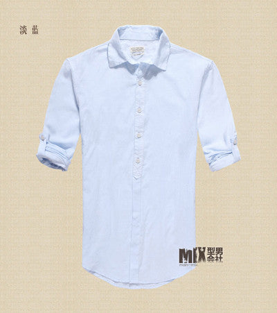 2017 Spring Autumn Cotton Shirts High Quality Casual Shirt Slim Fit Social Shirts solid shirt men Linen long sleeve dress shirts