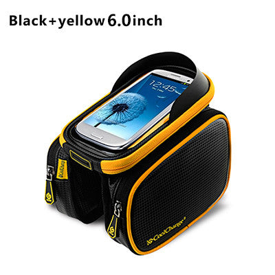 Bicycle Frame Front  Head Top Tube Waterproof  Bike Bag&Double IPouch Cycling For 6.0 in Cell Phone Bike Accessories