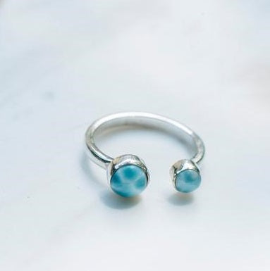 Infinity Larimar Open Ring